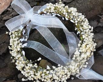 Girl's Breath Flowers White Flowers Crown babysbreath Dried Flowers Ivory Flowers Toddler Flowers Crown/Flower Bracelet Flowers