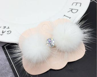 Cyber Monday mink fur hair clip cute girls hairpin white fluffy gems stones hairclips toddler baby girls hair accessory Alligator Hair Clips