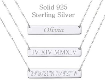 89e269a83 925 Sterling Silver Roman Numeral Necklace Date Necklace Wedding Date Necklace  Custom Date Necklace Bar Necklace Monogram bridesmaid gift