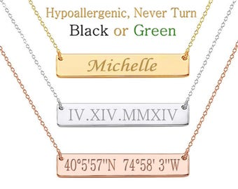 Roman Numeral Necklace,  Date Necklace, Wedding Date Necklace, Custom Date Necklace, Bar Necklace, Monogram, bridesmaid gift, Wedding