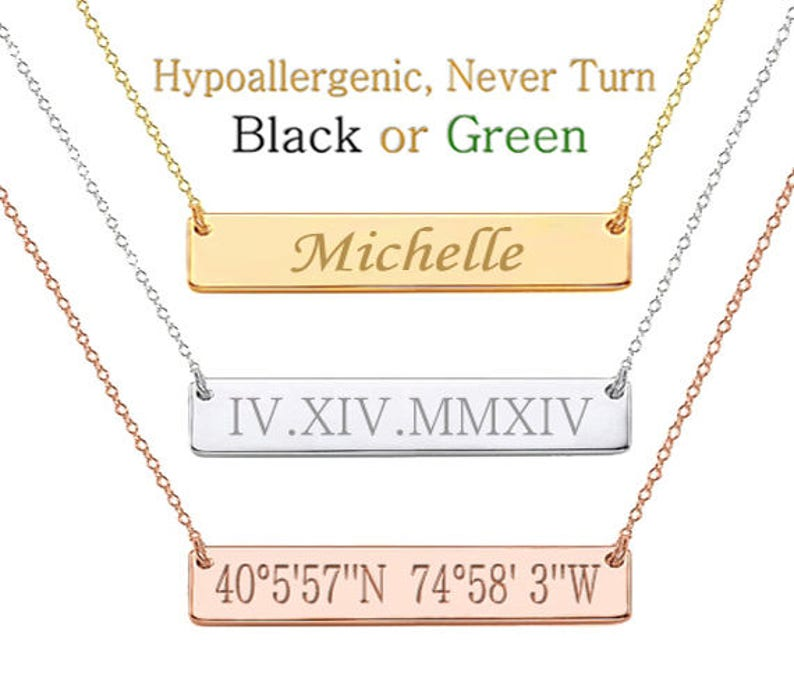 Roman Numeral Necklace  Date Necklace Wedding Date Necklace image 0