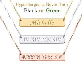 Bar Necklace, Latitude Longitude,Custom Coordinates,Custom Name,Roman Numeral,Initial,Greek Letters,Morse Cord,Zodiac,Date Necklace,Wedding