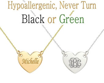 Heart Pendant Necklaces, Bridesmaid Gifts, Custom Name Necklace, Personalized Monogram Necklace, Initial Necklace, Birthday Gift