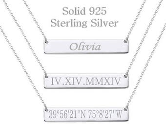 925 Sterling Silver Custom Coordinates Necklace, Latitude Longitude Necklace, Bar Necklace, Monogram, Greek Letters, Bridesmaid Gift