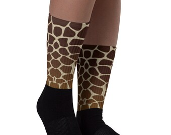Giraffe Socks - Custom Socks - Animal Socks - Themed Socks - Christmas Gift - Girrafe Socks -  Christmas Socks - Birthday Gift