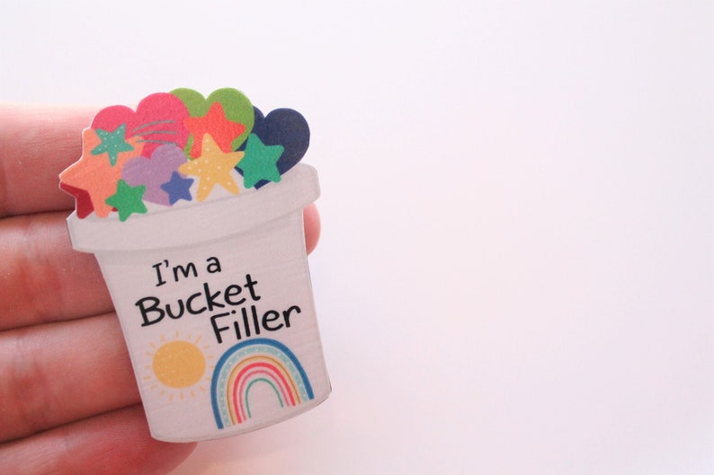 Teacher Brooches Teaching Student Name Badge Rainbows Customise Your Own Bucket Filler Wooden Brooch