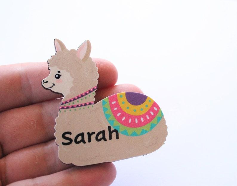 Llama Adorable Llamas Wooden Brooch Customise Your Own Cute Troll Name Badge Fridge Magnet Alpaca