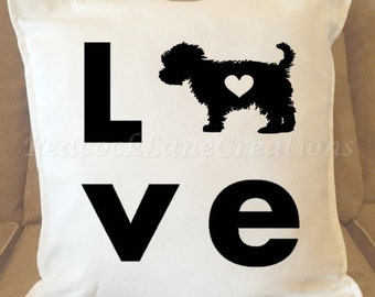 Love Yorkie Pillow Cover, Heart, Decorative Pillow Cover