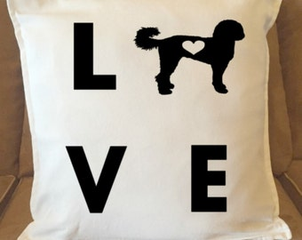 I Love My Labradoodle Pillow Cover, Cutout Heart Decorative Pillow Cover