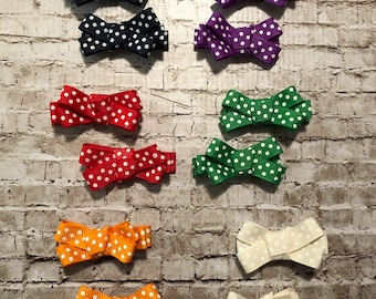 Polka Dot hairbow clip barrette pigtail bows Set of 2