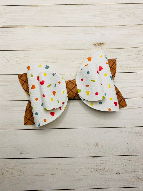 faux leather bows girls bows Ice cream hair bows