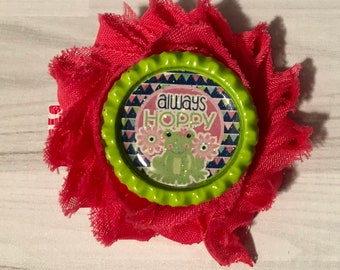 Shabby Flower Hairclip Pink with Bottlecap Alway's Hoppy Frog