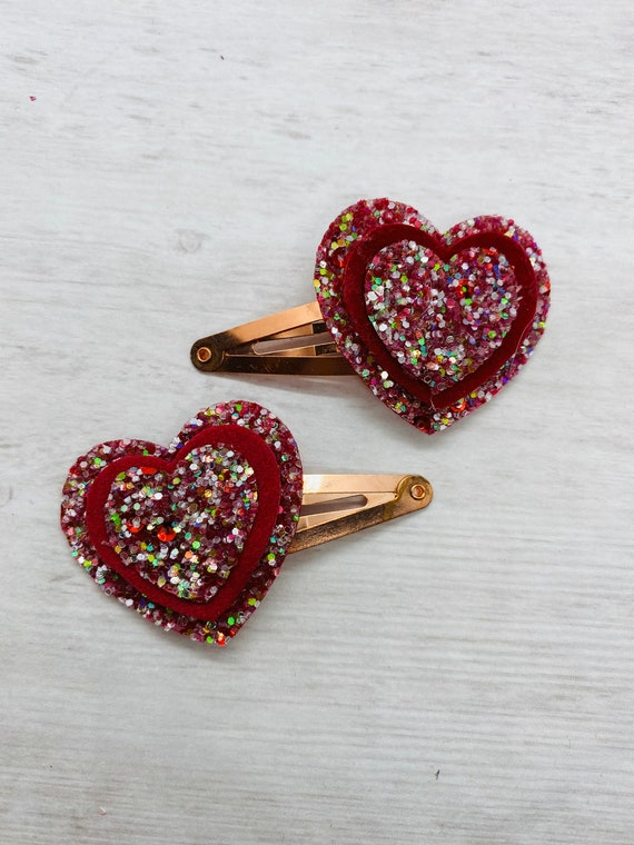 Metallic Teal Vegan Leather Valentines Snap Clip Set Hair Clip Barrette Floral Vegan Leather Pink Heart Glitter