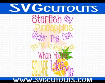Starfish and Pineapples Spongebob Reading Saying Book Saying, Book Pillow Saying Subway Art Svg, Dxf, Eps Png Cutting Files INSTANT DOWNLOAD