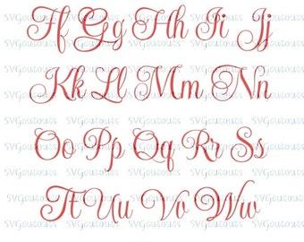 Elegant Script Monogram Font Design, SVG, Eps, Dxf Formats, File For Your Cutting Machines, Silhouette, Cricut, Scan N Cut, INSTANT DOWNLOAD