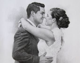 Custom Couple Portrait Wedding Anniversary Gift For Her For Him Couple Pencil Drawing Romantic Gift Art Sketch From Photo
