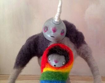 OOAK Art doll - needle felted - whimsical - unicorn - rainbow - Cumulus and Hope