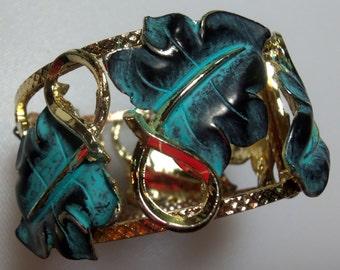 Gold Tone Green Verdigris and Black Enamel Leaves Wide Clamp Bangle Bracelet