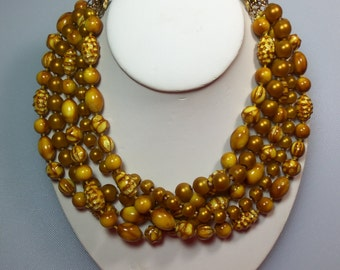 Interesting Textured Plastic Bead Chunky 5 Strand Goldenrod Yellow Torsade Choker Necklace Designer Signed Kramer