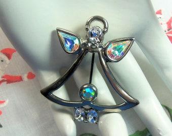 Retro Polished Silver Tone Clear and Aurora Borealis Rhinestones Christmas Angel Pin Brooch