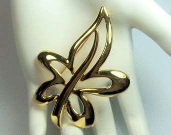 Retro Polished Gold Tone Stylized Leaf Pin Brooch Designer Signed Napier