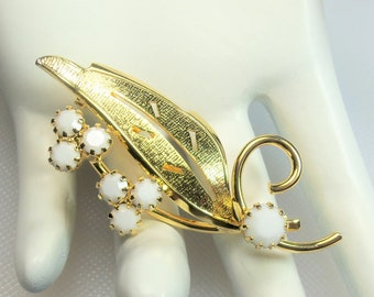 Vintage Gold Tone Textured and Polished Leaf with White Milk Glass Prong Set Rhinestones Pin Brooch