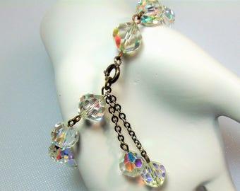 Vintage Clear Aurora Borealis Glass Bead Bracelet with Double Dangles