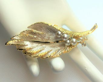 Vintage Textured Silver Tone and Gold Tone Leaf Pin Brooch with Faux Pearls and Rhinestones Designer Signed BSK