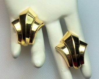 Vintage Polished Gold Tone Art Deco Revival Clip Earrings Designer Signed Christian Dior