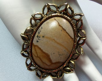 Vintage Tan and Beige Marble Stone Oval Gold Tone Pin Brooch with Pendant Loop