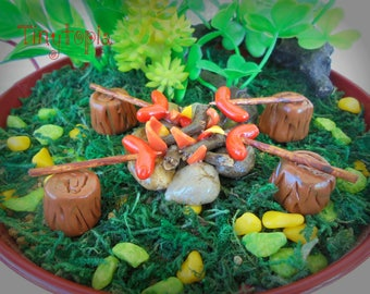 Miniature Fire Pit with Sausages  Fairy Garden Terrarium Accessory