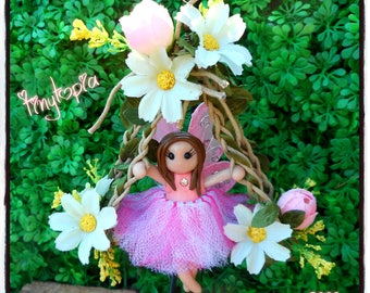 Handmade fairy on swing! Stand included (Item # S362)