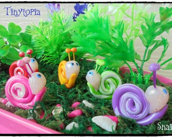 Miniature Swirly Snails Fairy Garden Terrarium Accessory