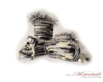 Knitted baby booties baby boots white black