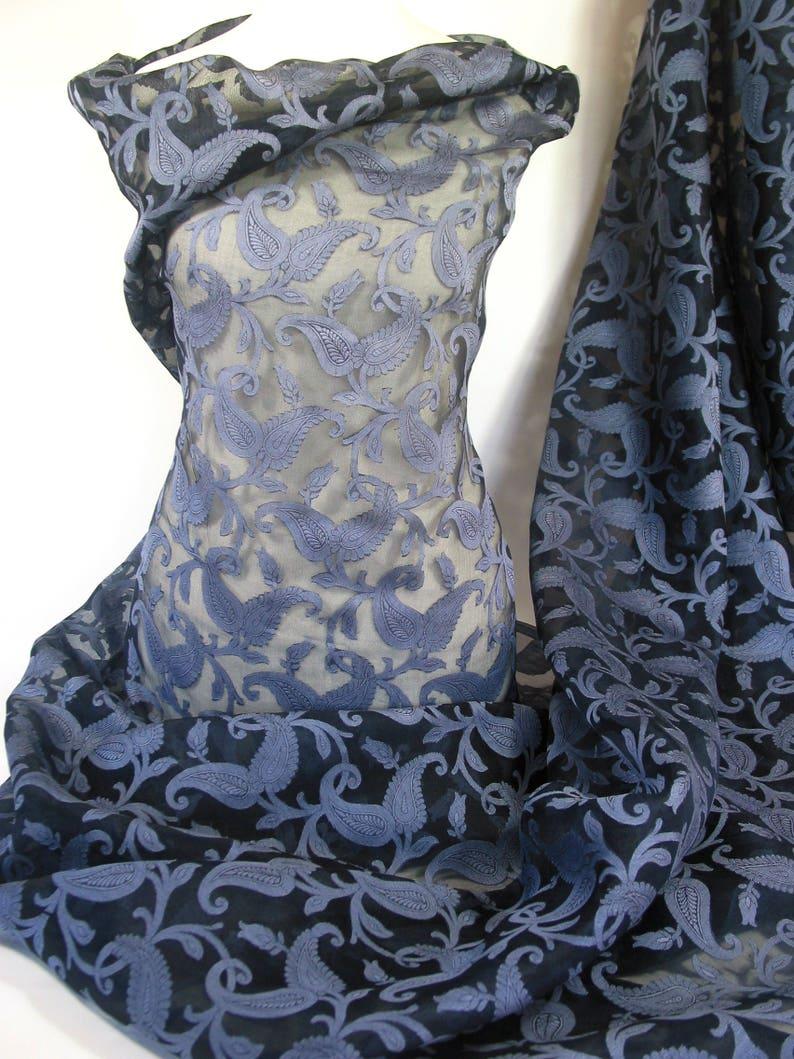 Leaf Jaquard Silk Organza-2 Tone-Coin Blue-Royal Blue-Dark Blue Woven leaves-Sheer Wedding Fabric-Bridal Silk-Evening wear-Pure Silk-No 80