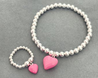 Pink Heart Ring and Bracelet Matching Set