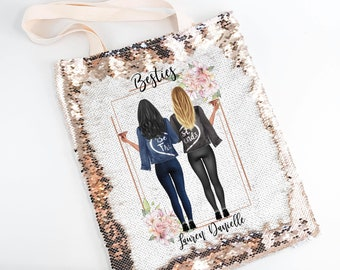 Sequin Tote, Best Friend Gift, Soul Sisters, Beach Bag, BFF Gift, Bestie Bag, Gift For Best Friend, Distance Friendship, Personalized