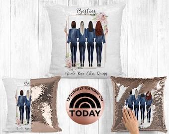 Best Friend Pillow, 4 Girls, Soul Sisters Gift, BFF Gift, Bestie Pillow, Gift For Best Friend, Distance Friendship, Custom Pillow