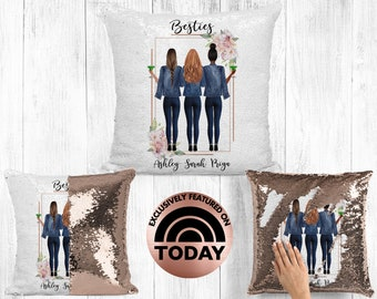 Best Friend Pillow, 3 Girls, Soul Sisters Gift, BFF Gift, Bestie Pillow, Gift For Best Friend, Distance Friendship, Custom Pillow