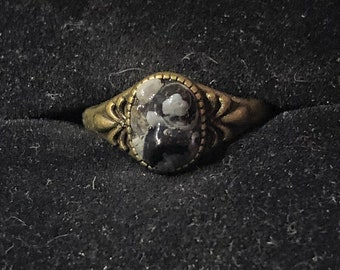 Snowflake Obsidian Antique Bronze Ring