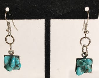 Turquoise, silver, square earrings