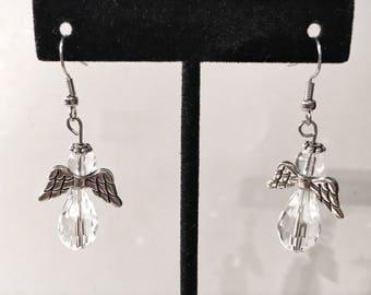 Crystal, silver, angel, dangle earrings