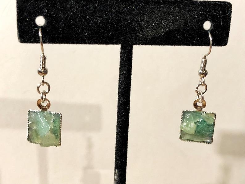 Green Aventurine square silver dangle earrings