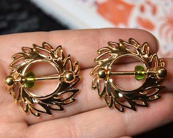 Beaded Gold Swirling Leaves Nipple Shield Pair, Nipple Piercing, Nipple Shields, Nipple Jewelry, Nipple Rings, Nipple Studs, Crystals