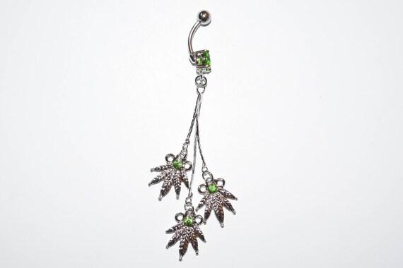 Long Triple Green Pot Leaf Dangle 316l Surgical Steel Belly Ring Body Jewelry Piercings Belly Piercings