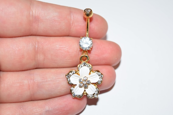 Belly Button Ring Hamsa with CZ and Gem Paved Dangle Navel Ring