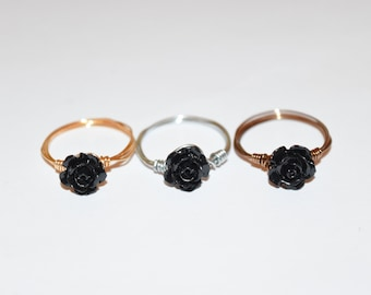 Black Rose Wire Rings, Wire Ring, Black Ring, Rings, Wire Wrap Rings, Beaded Rings, Gypsy Rings, Rose Beaded Ring, Handmade Rings, Beads