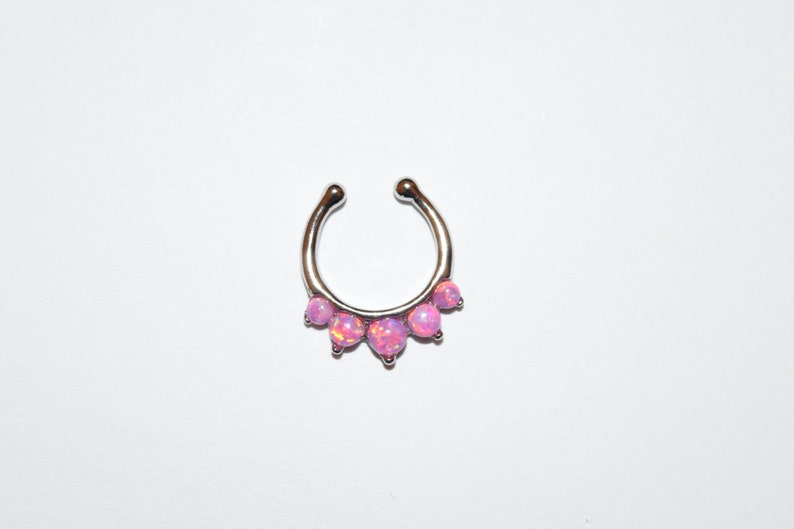 1x Steel CZ Gem Stone Septum Hanger No Piercing Needed Clip On Nose Purple Color
