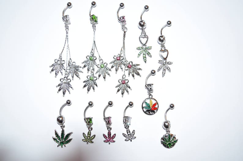 body jewelry Clear Leaf Gem Paved Dangle with 316L Surgical Stainless Steel Navel Ringl piercings belly piercings