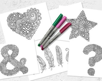 Set of 5 Colouring Pages | Fun to colour |  Instant download